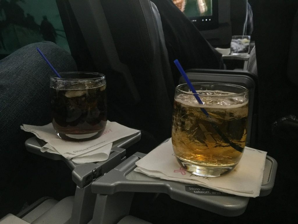 Free drinks before and after takeoff can't hurt either!
