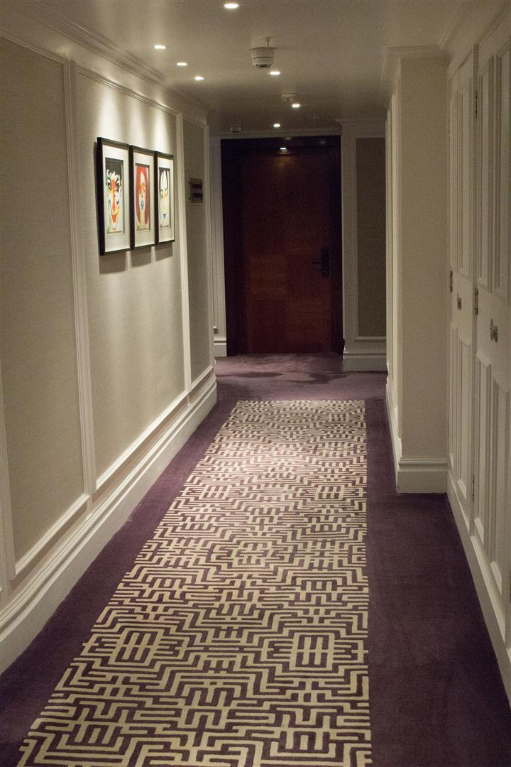 Corridors leading into the hotel rooms. It's refreshing to see purple used in an interior design!