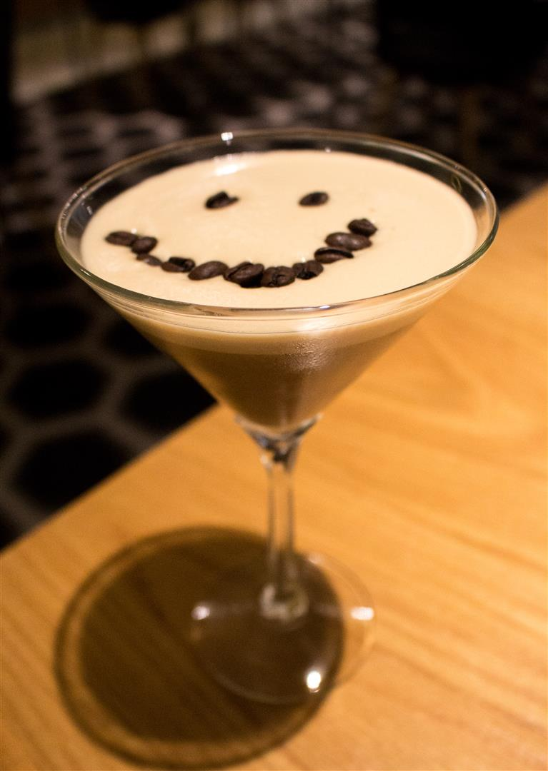 The Chocolate Martini, with a special coffee bean smiley face :3