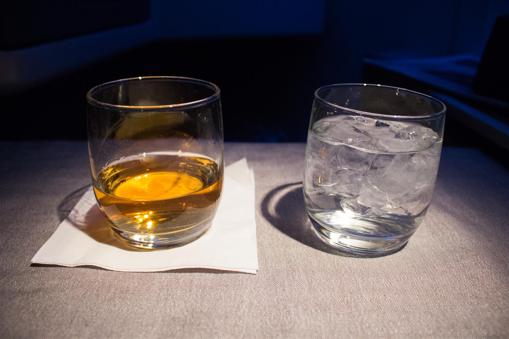 I'm glad the stewardess offered some ice water with my generous serving of whiskey - sometimes, it is better with a bit of water!
