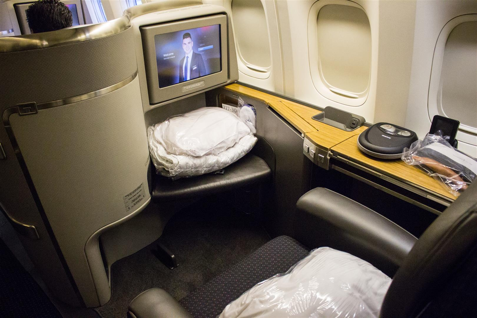 The other side of the Flagship First Class seat
