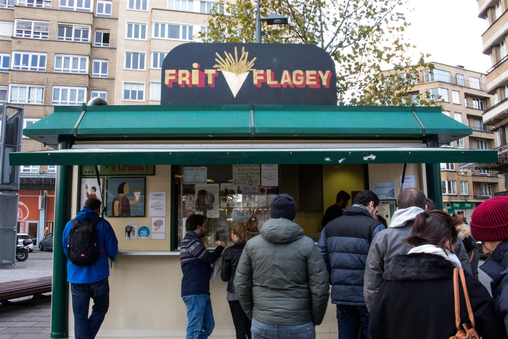 Always a line at Frit Flagey, but it is worth the wait!