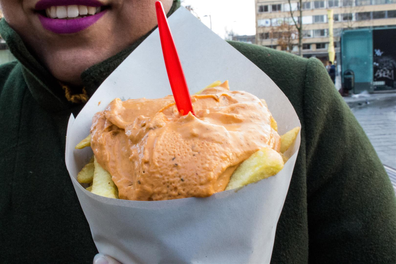 Frit Flagey Fries with Andalouse Sauce - so many fries in this cone, it is practically a meal all on its own!