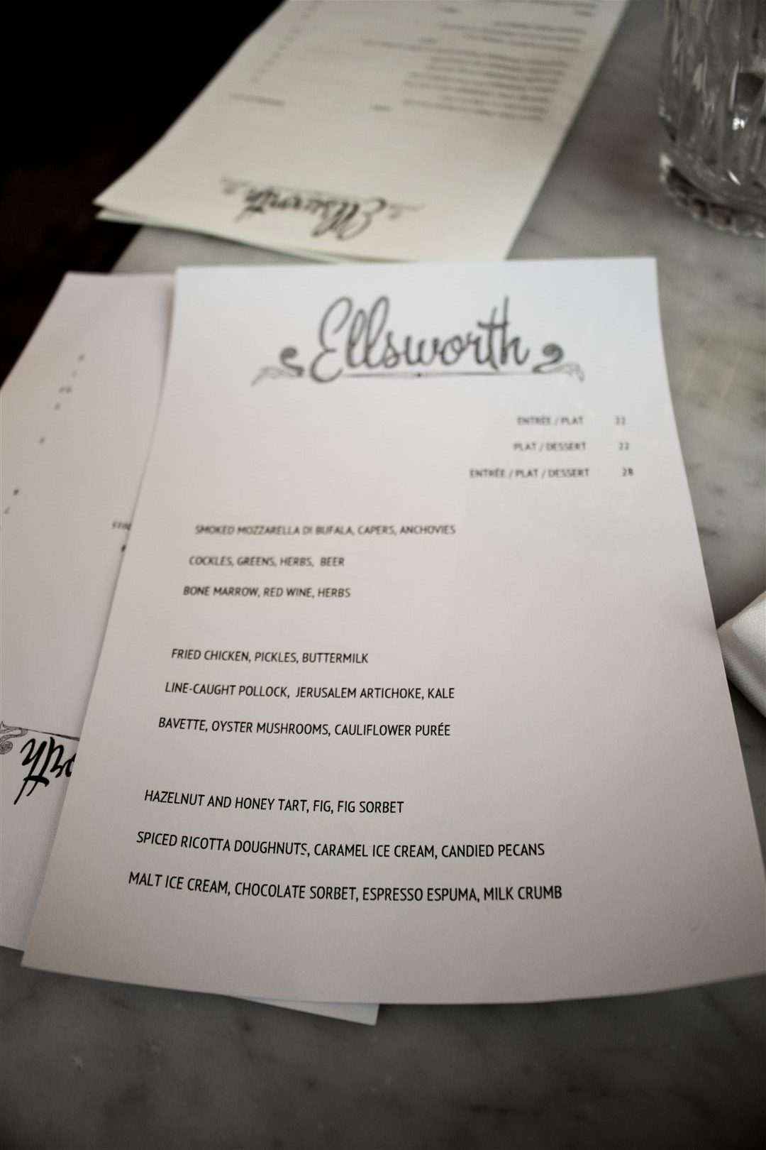 The Ellsworth Menu