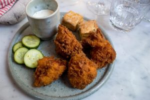 Crispy, succulent fried chicken!